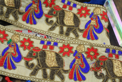 Ornate Elephant Silk Trim/Ribbon, from India