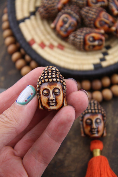 "Peaceful Buddha Beads: 1.25"" Resin Jewelry Making Supplies, 2 pieces"
