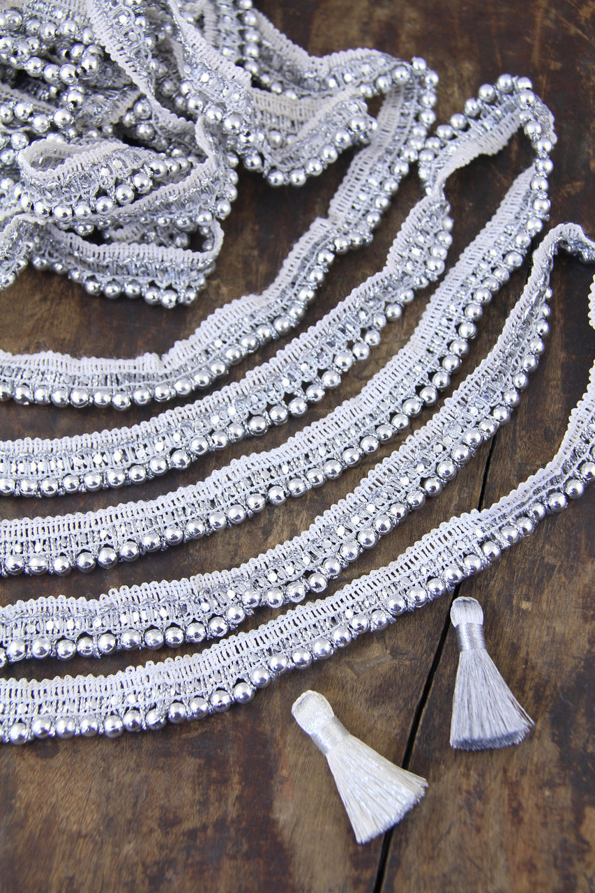 Beaded Fringe Trim, White Silver, Traditional Indian Ribbon, Boho Lace