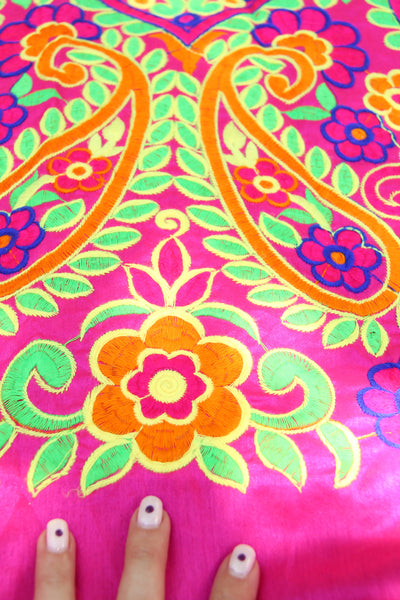 "Embroidered Floral Fabric from India, Pink Silk Wall Hanging, 44""x1 yd"