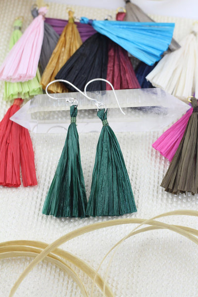 "Raffia Tassels for Jewelry Making, 2.25"" Handmade Eco-Friendly Fringe Pendant, 1p"