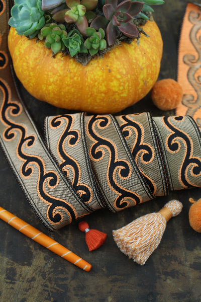 "Electric Vines Ribbon, Neon Orange, Gold, Black, Trim Sari Border 1.25"" x 1 yard"