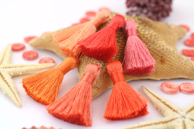 "Living Coral Mix: Mini Silky Jewelry Making Tassels, 1.25"" Fringe, Red, Orange Jewelry Making Supply"