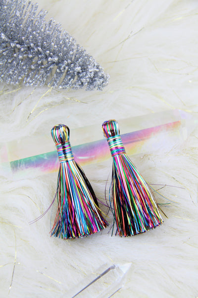 "Rainbow Tinsel Tassels, 2.5"" Metallic Jewelry Making Tassels, 2 pcs"