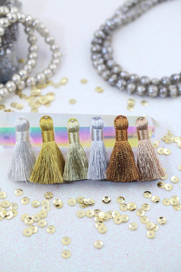 "Metallic Tassels: 1.25"" Handmade Tassels for Making Earrings/Jewelry, Gold, Silver, Copper Fringe"