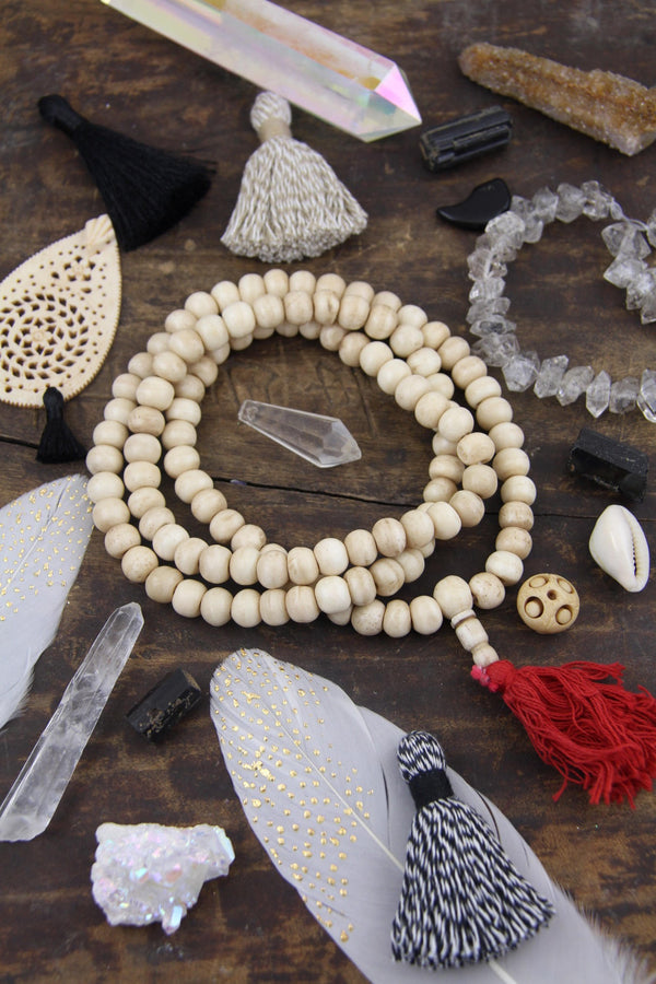Cream Mala Rondelle Bone Beads : 10x8mm, 108 beads Yoga Mala - ShopWomanShopsWorld.com. Bone Beads, Tassels, Pom Poms, African Beads.