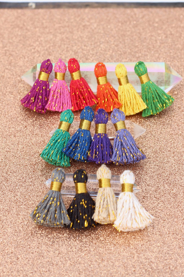 "Mini Cotton & Sparkly Tinsel Tassels, 1.25"" Tassels for Jewelry Making"