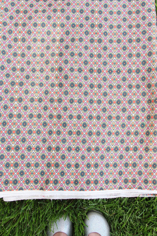 "Boho Burlap Fabric from India, 53"" Wide, Geometric Textile by the yard"