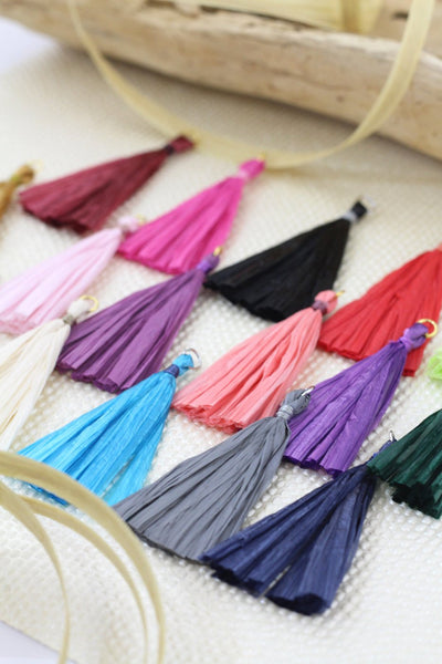 "Raffia Tassels for Earrings, 2.25"" Handmade Jewelry Making Supplies, 1p"