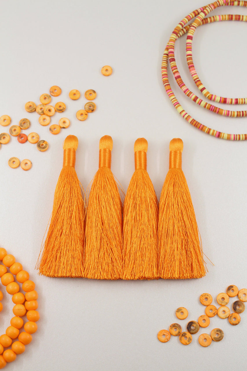 "Silky Luxe Tassels: Orange 3.5"" Jewelry Making Fringe Pendant"