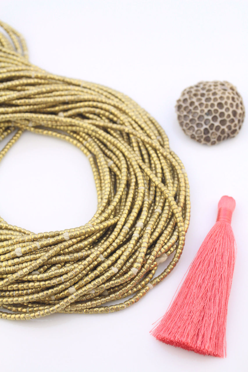 African Brass Seam Tube Beads