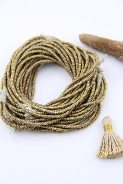 African Brass Heishi Beads 3x1mm, from Ethiopia