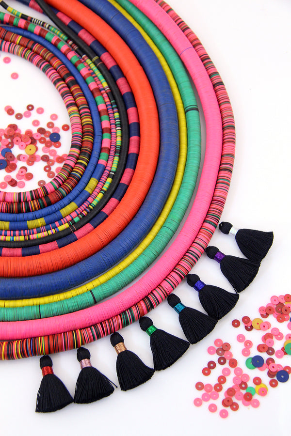 Vintage African Vinyl Record Beads, Assorted Sizes & Colors 4-14mm, Boho Tribal Necklace