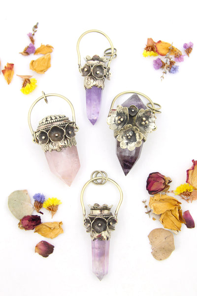 Flower Power Focal Pendant: Large Amethyst, Rose Quartz Crystal Point, Nepali Silver