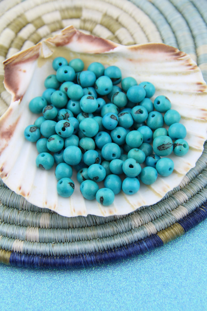 Turquoise Blue Natural Acai Beads From South America 10mm 100 Beads Womanshopsworld