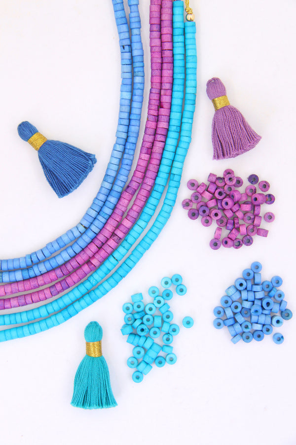 Bone Spacer Beads: 6x4mm Turquoise, Blue, Purple Heishi, Tube Shaped