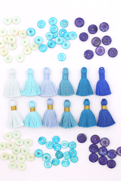 "Classic Blue: 6 Mini Tassels, Jewelry Making Supplies, 1.25"" Cotton Fringe"