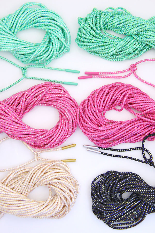 Braided Lurex Cords with Finished Ends, for Bracelets, Reusable
