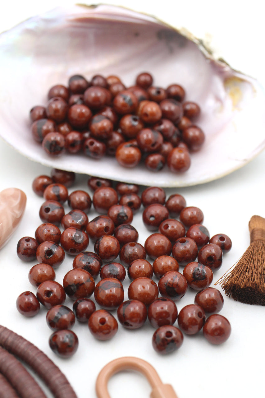 Chestnut Brown: Real, Natural Acai Beads, 10mm, 100 beads