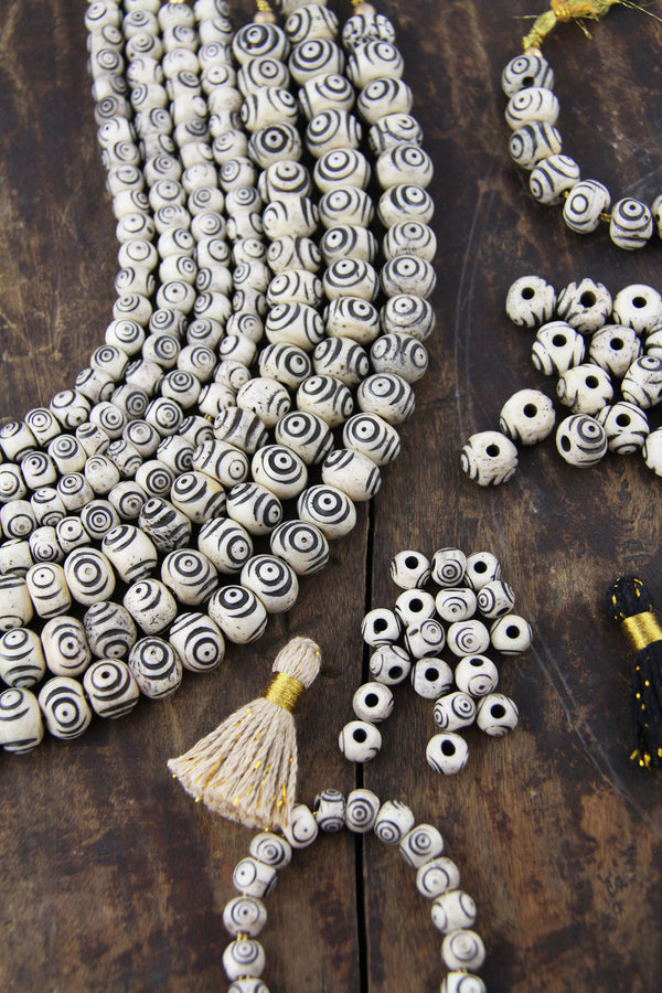 Cream & Black Bullseye Carved Melon Bone Beads, 8mm, 12mm