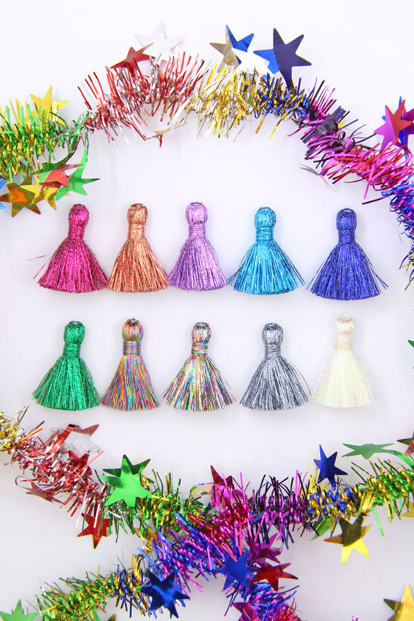 Colorful Rainbow Metallic Tassels: Sparkly Tassels for Making Earrings
