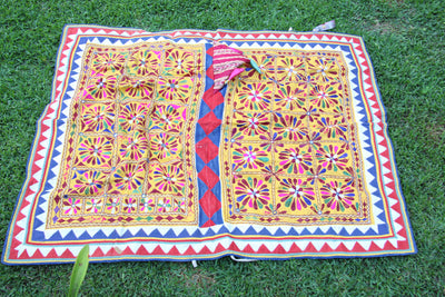 Vintage Handmade Cow Blanket Textile from India (VBL3) - ShopWomanShopsWorld.com. Bone Beads, Tassels, Pom Poms, African Beads.