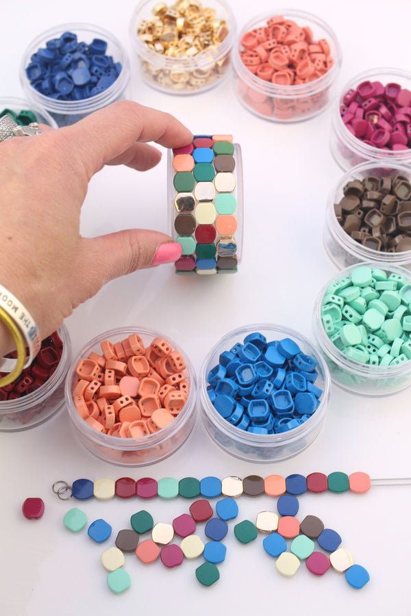 Enamel Tile Beads, Honeycomb Shape 2-Hole Beads for Colorblock Bracelets