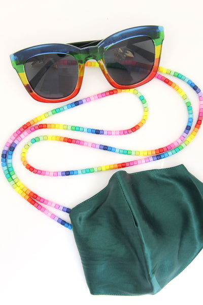 Rainbow Enamel Bead Mask Necklace, Eyeglass Strap, Double Choker