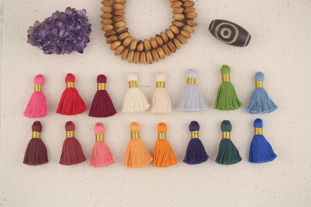 "Mini Cotton Tassels, Fall/Winter Pantone 2019 Mix, 1.25"", 16 pieces"