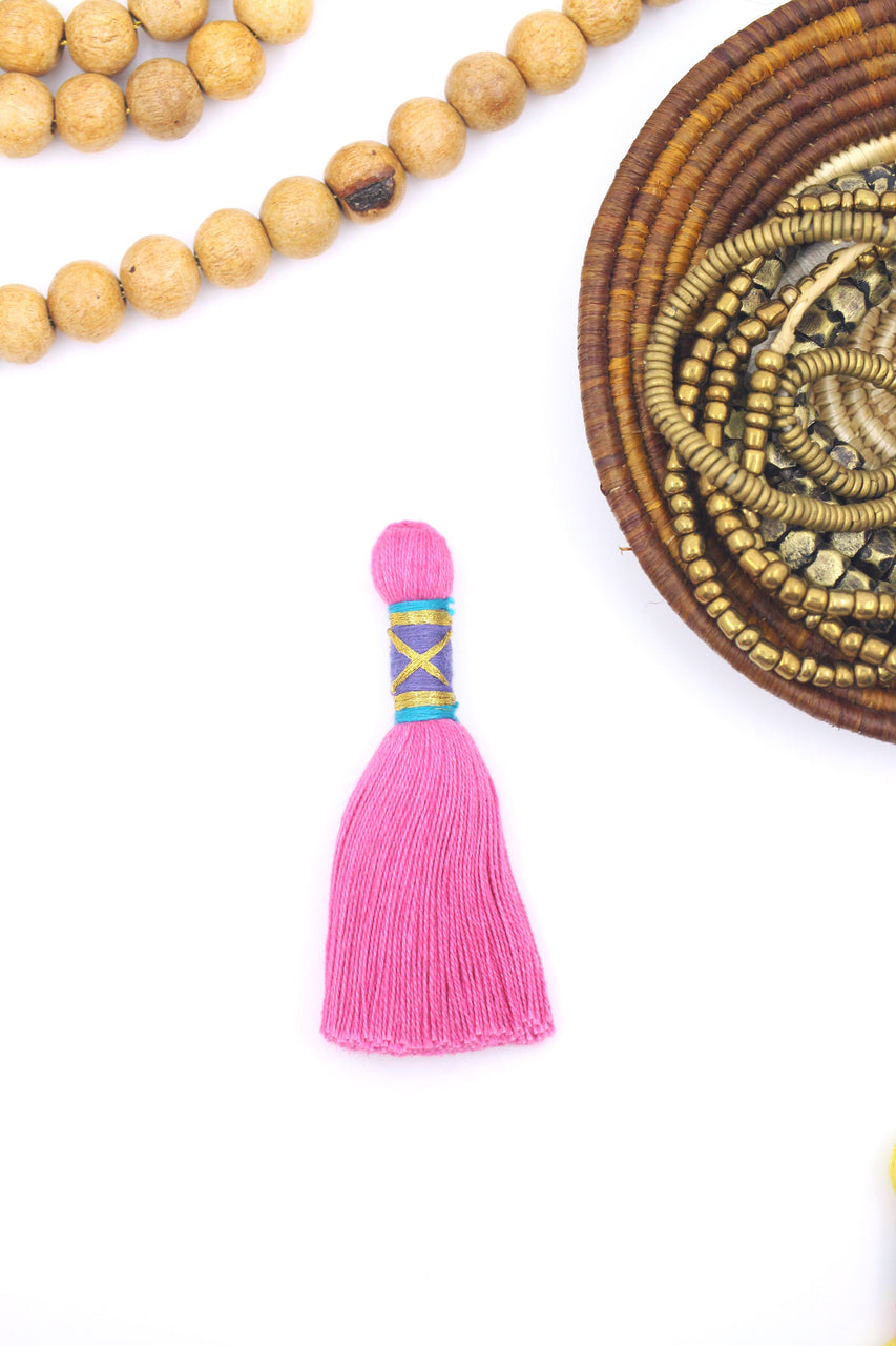 NEW Ornate Tassels for Jewelry, Fancy Binding Cotton Jewelry Making Tassles, 1 pc.