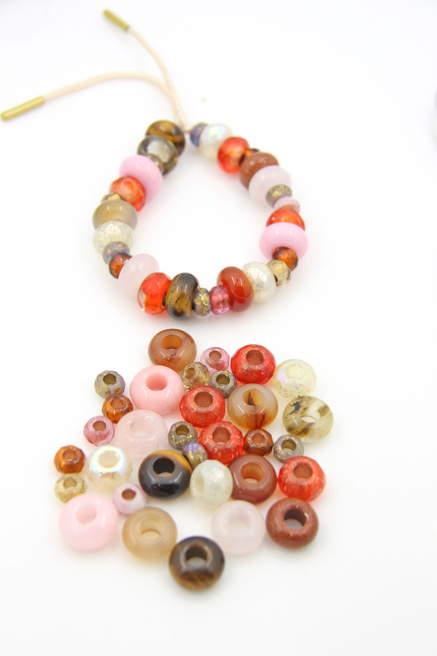 Red and Gold Large Hole Beads for DIY Bracelet Tie On Kit