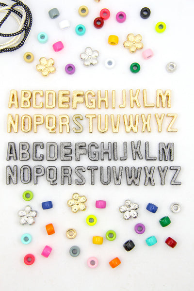Gold Plated & Gunmetal Cut Out Letter Beads, Large Hole, For Tie-On Bracelets & DIY Necklaces, 9x15mm