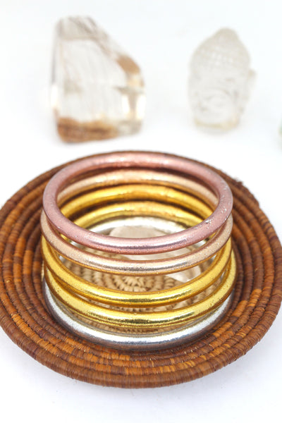 Thai Buddhist Temple Bracelets, Gold, Silver Mantra Bangle, Thick, Sizes Available