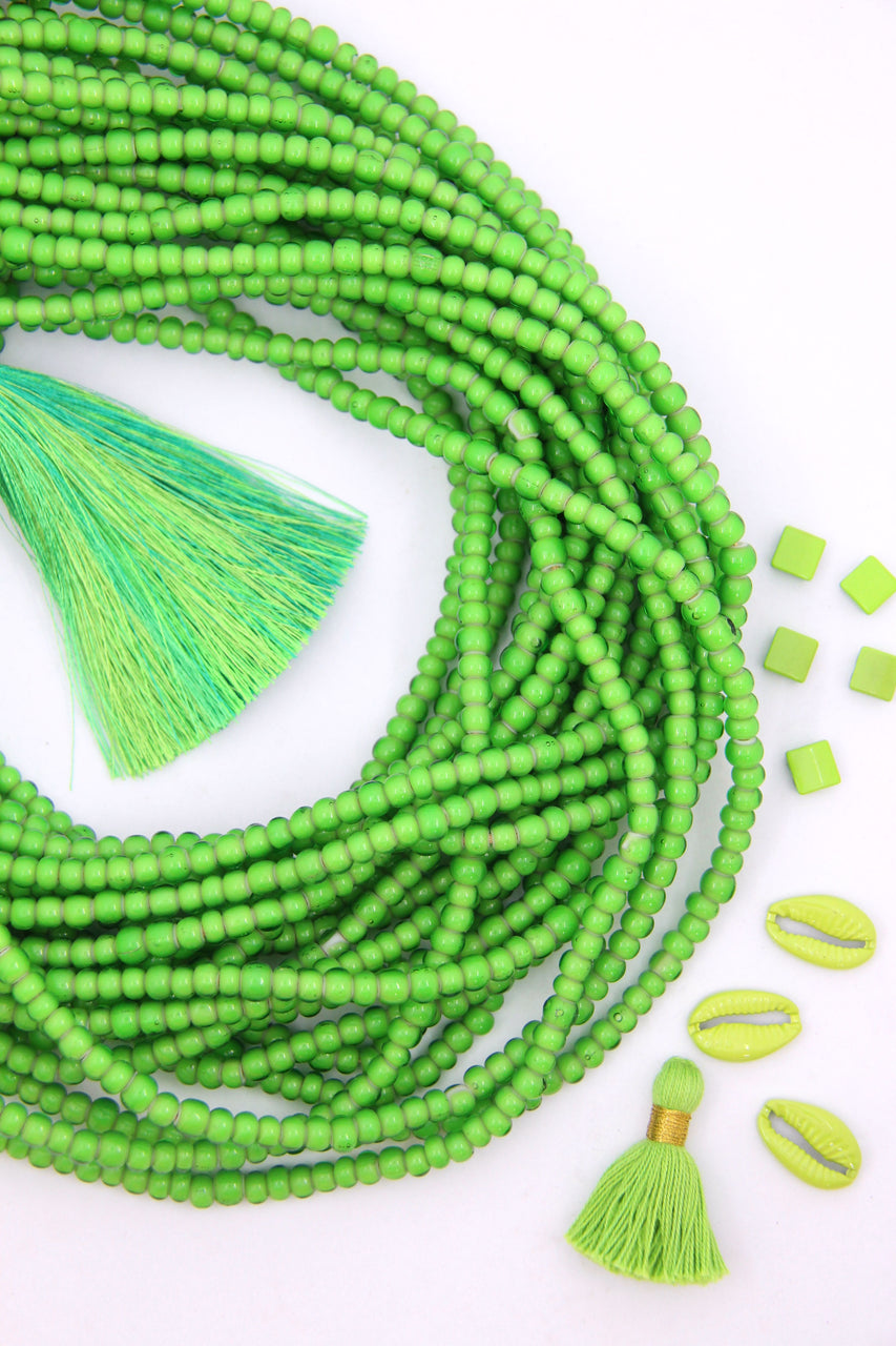 "6mm Green White Heart African Glass Bead, 23"" Strand"