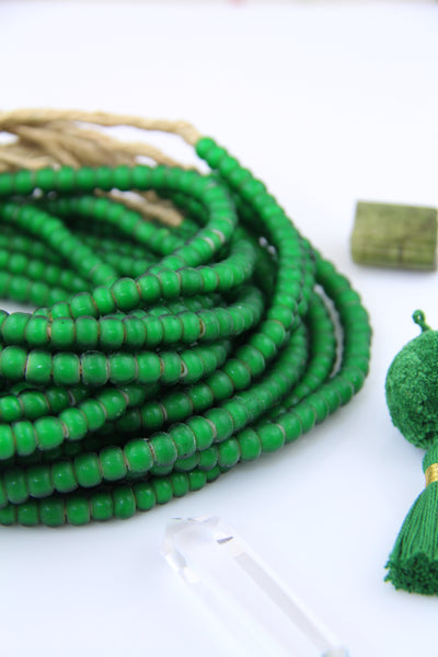 "Green Grass: White Heart African Glass Beads, 8mm, 24"" strand"
