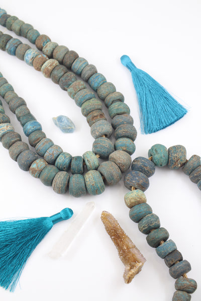 Antique Blue Hebron Beads: African Glass, Graduated Strand, 45 pc