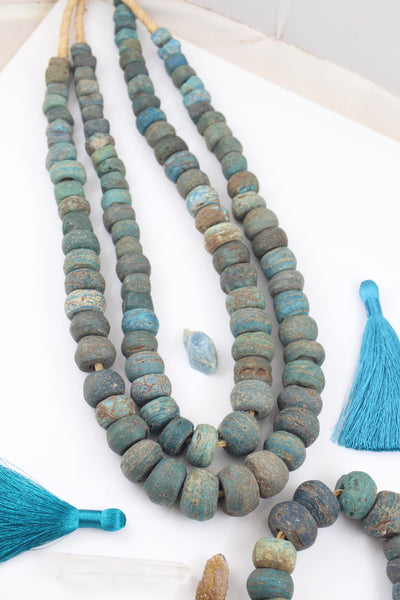 Antique Blue Beaded Necklace