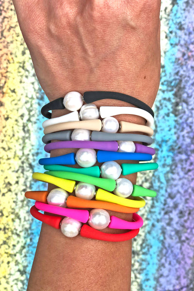 """Janis The Pearl"" Silicone + Pearl Bracelets, Waterproof Everyday Bangle"