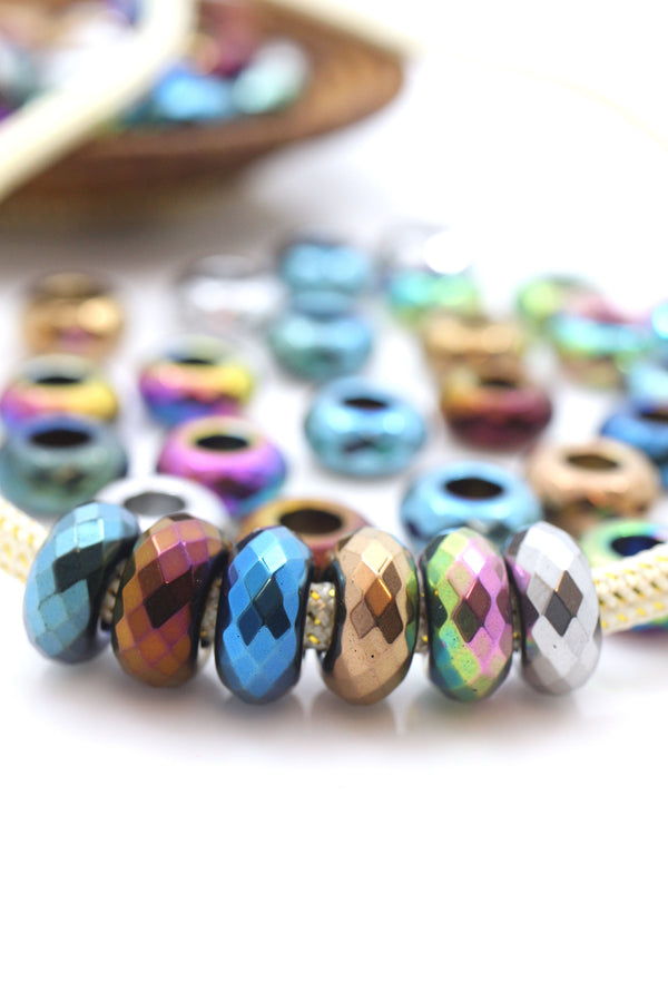 Large Hole Faceted Plated Hematite Euro Beads, 14mm, 5.5mm Hole