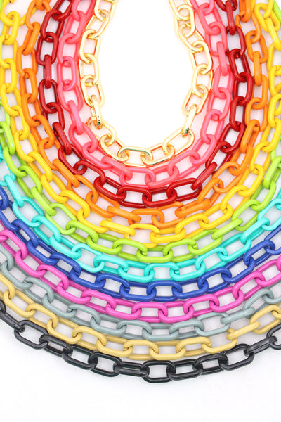 Luxe Link Enamel Chain Necklace, Assorted Colors