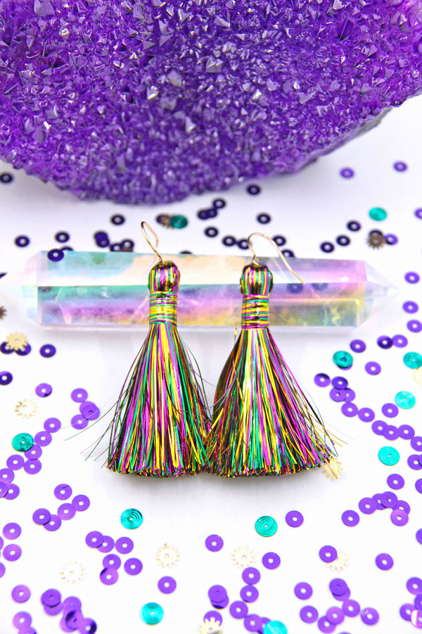 "Mardi Gras Tinsel Tassels, 2.5"" Metallic Jewelry Making Tassels"