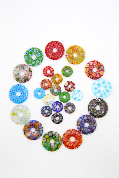 Millefiore Glass Donut Pendant, Assorted Colors, 20mm or 35mm, 1 piece