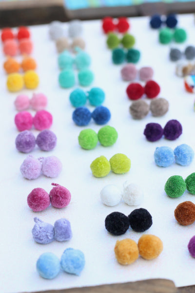 "MINI Luxe Pom Poms with Loops, 1/4"" Cotton Pom Baubles, 3+ Pairs"