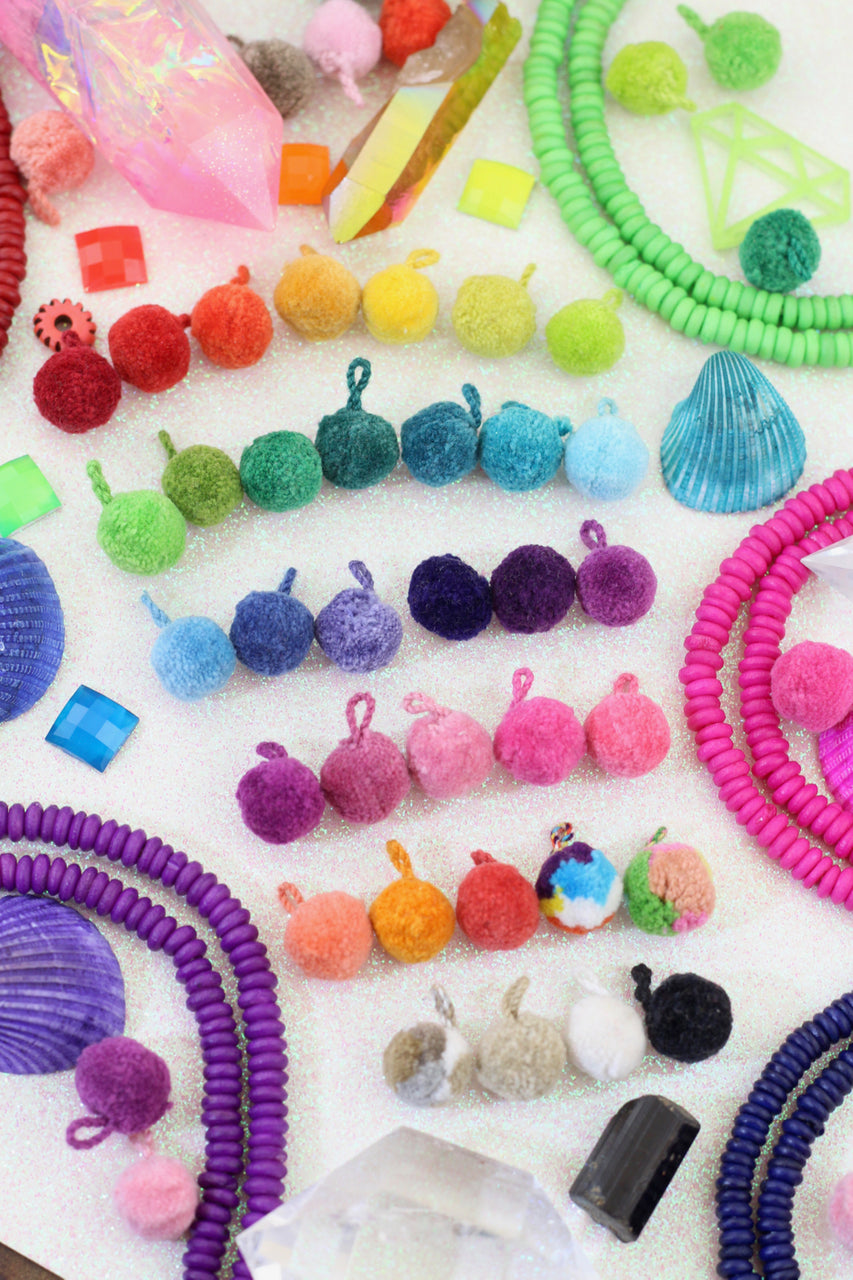 "MINI Luxe Pom Poms with Loops, 1/4"" Cotton Pom Baubles"