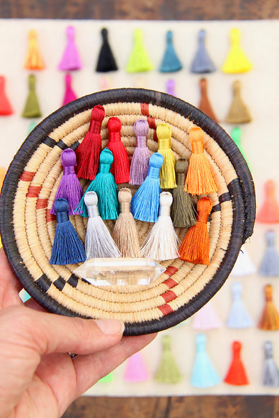 "Mini Silky Jewelry Tassels, 1.25"" Tassels for Earrings, 8+ pieces"