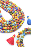 10mm Round Multi-Colored Mosaic Sandcast Ghana Glass Beads