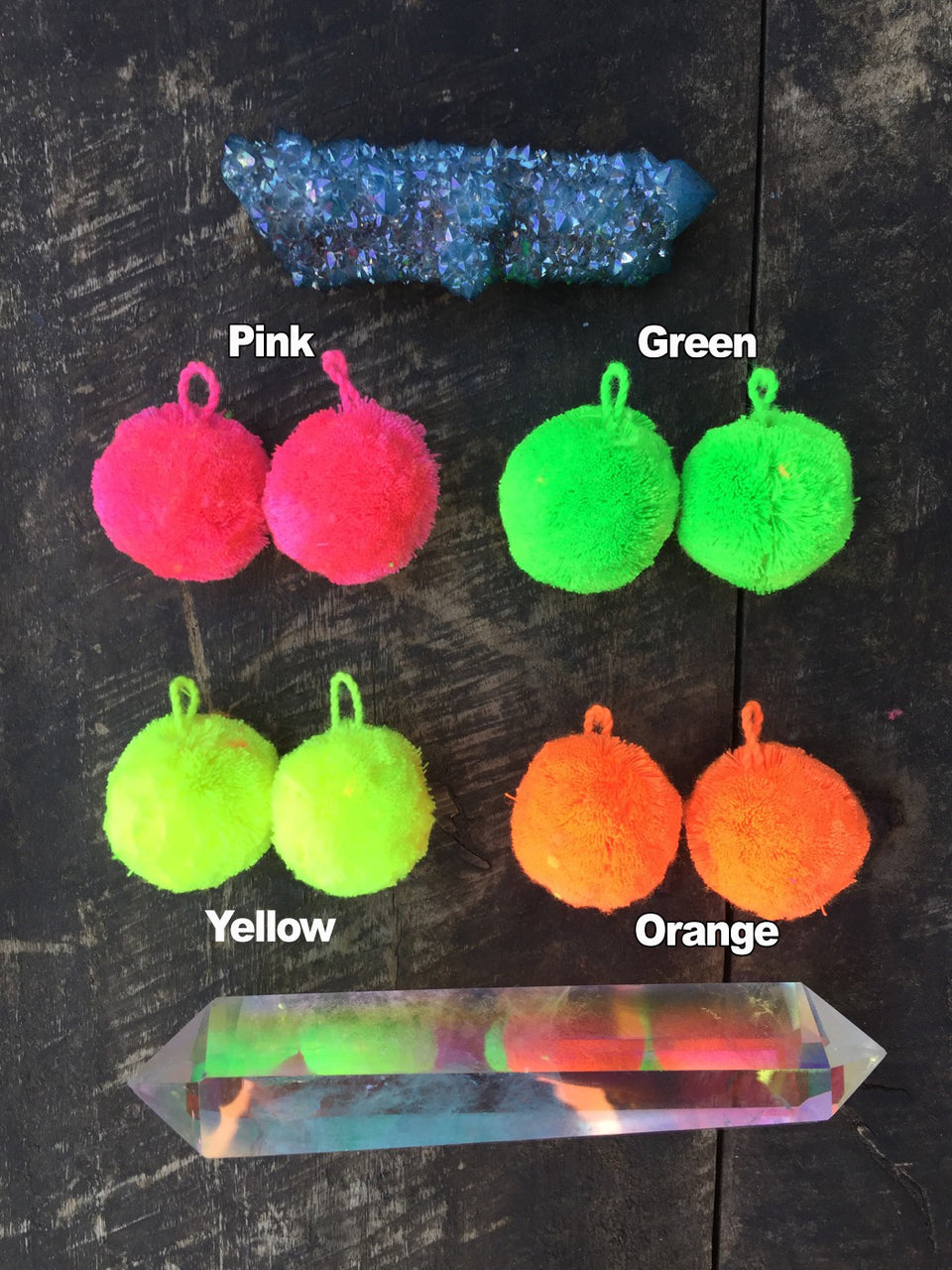 "NEON Luxe Cotton Pom Poms with Loops, 1"" Pom Baubles, 3+ Pairs"