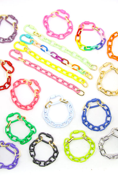 Luxe Link Enamel Chain Bracelet with Carabiner Lock Clasp, Assorted Colors