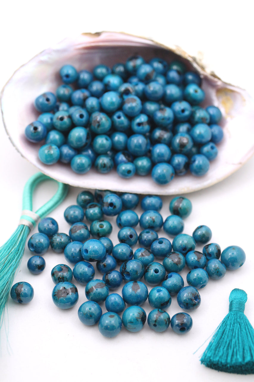 Ocean Blue: Natural Acai Beads from South America, 10mm, 100 beads