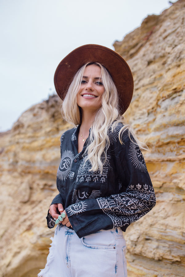 Om Shirt : Laid Back Boho, Traveler Style, rayon block printed shirt